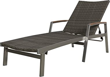 Christopher Knight Home 305554 Joy Outdoor Wicker and Aluminum Chaise Lounge, Gray Finish