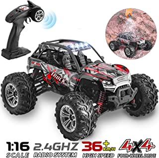 HisHerToy 4WD RC Trucks for Adults IPX4 Waterproof RC Cars High Speed Remote Control Cars 4x4 for Boys Girls 1:16 / 36km/h Off Road RC Vehicles for Kids Monster Truck Buggy Rock Crawler with Headligh
