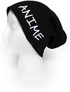 af825125dd6 Anime Slouchy Beanie Embroidered Winter Hat Men Women Oversized Knit Cap