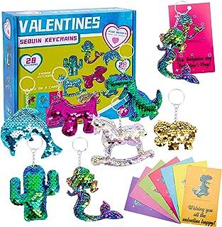 Acekid Valentines Day Gift Sequin Keychain with Valentines Day Gift Cards, Idea for Valentine's Classroom Exchange Prizes,...