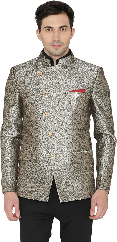WINTAGE Men's Banarsi Rayon Cotton Casual and Festive Indian Jodhpuri Grandad Bandhgala Blazer : 4 Colors