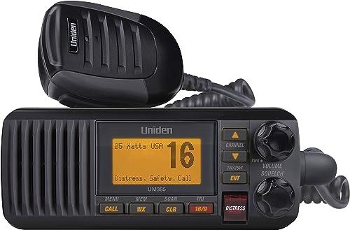 Uniden UM385BK 25 Watt Fixed Mount Marine Vhf Radio, Waterproof IPX4 W/ Triple Watch, Dsc, Emergency/Noaa Weather Ale...