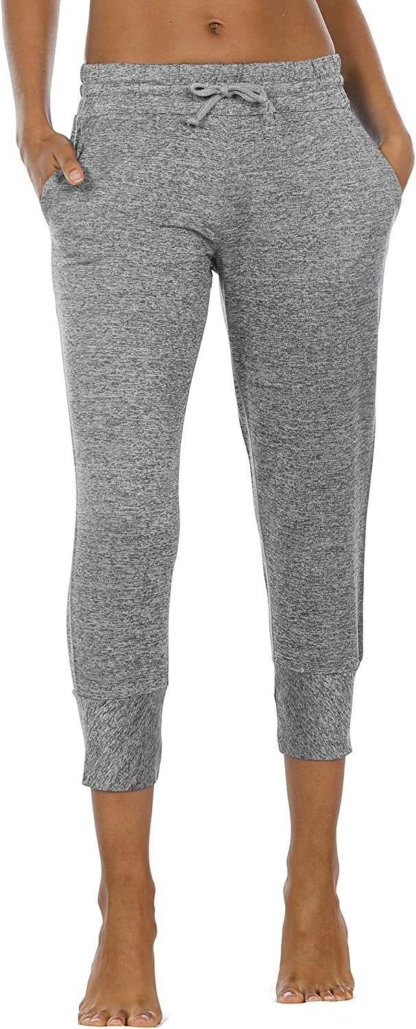 Icy zone Women's Active Joggers Sweatpants  Athletic Yoga Lounge Capris with Pockets