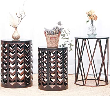 Multifunctional Nesting Round Metal Coffee End Tables, Set of 3 Modern Furniture Nightstands Decor Side Tables Plant Stand fo
