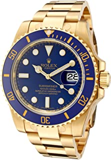 Rolex Mens Submariner Automatic Blue Dial Oyster 18k Solid Gold