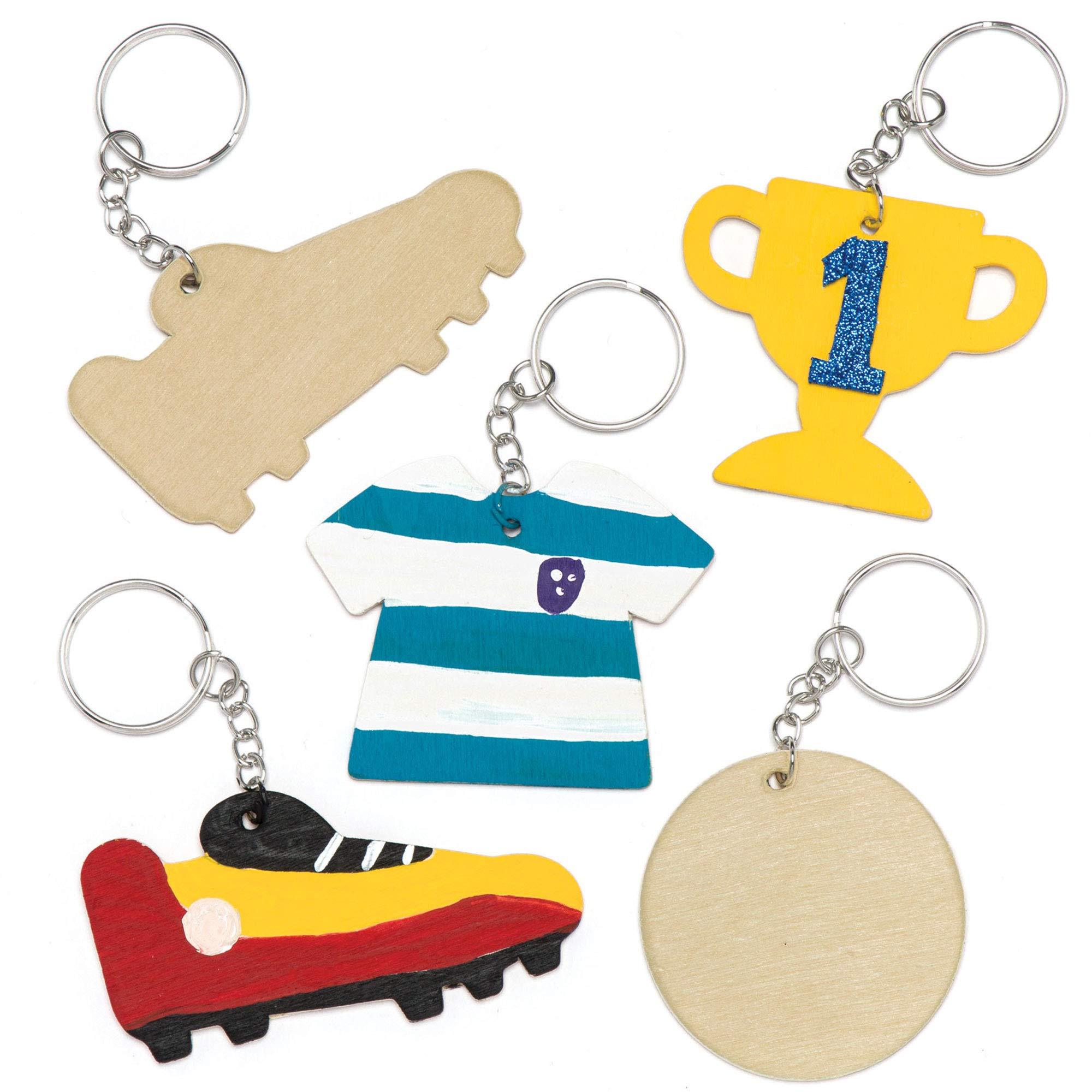 Baker Ross- Llaveros de balones de fútbol de Madera (Pack de 8) Que los niños Pueden Colorear y Decorar - Juego de Manualidades Infantiles: Amazon.es: Juguetes y juegos