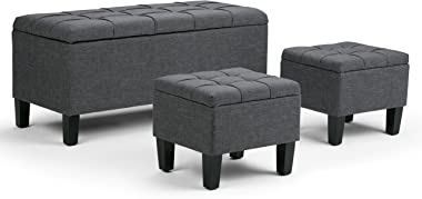 Simpli Home Dover 44 inch Wide Rectangle 3 Pc Lift Top Storage Ottoman in Upholstered Slate Grey Tufted Linen Look Fabric, Footrest Stool, Coffee Table for the Living Room, Contemporary