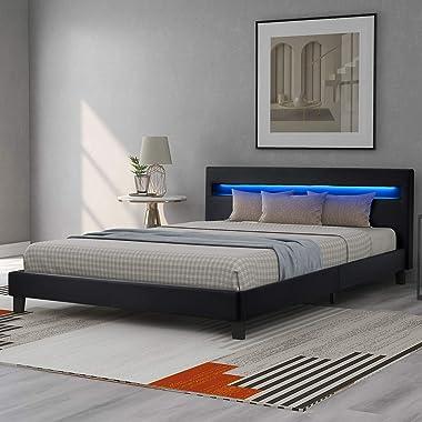 Dawns Lit rembourré à LED avec sommier à lattes, housse en cuir synthétique et structure en bois noir avec éclairage LED, cui