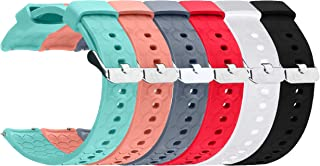 ECSEM 20mm Width Replacement Silicone Bands Straps Wristband Compatible for Amazfit Bip Smartwatch A1608, 6pcs A