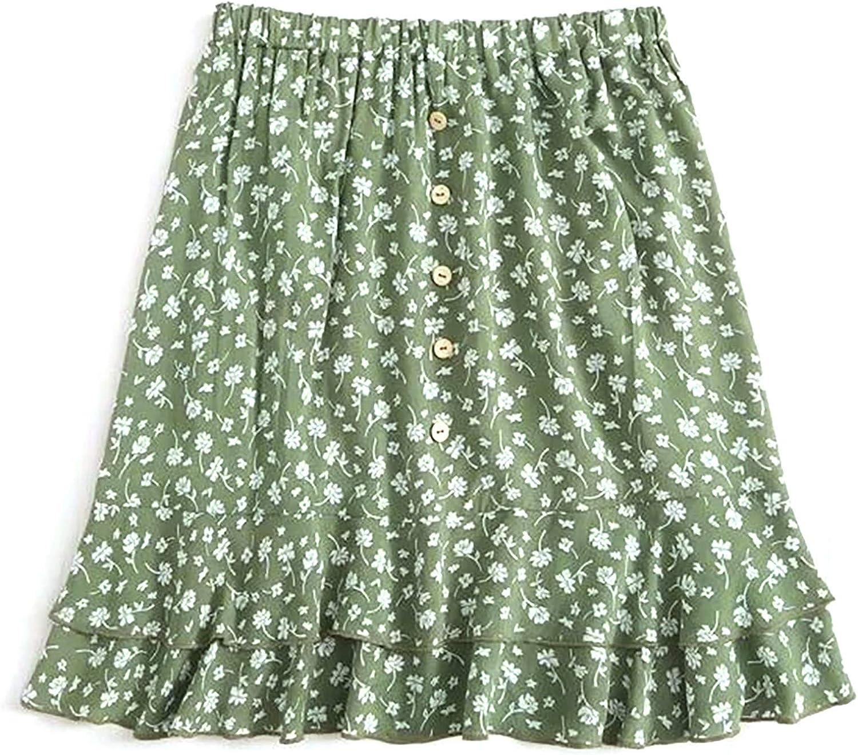 Women's Floral Flared Short Skirt High Waist Ruffles Casual Mini Skirt Pleated Skater Tennis Skirt Summer Spring