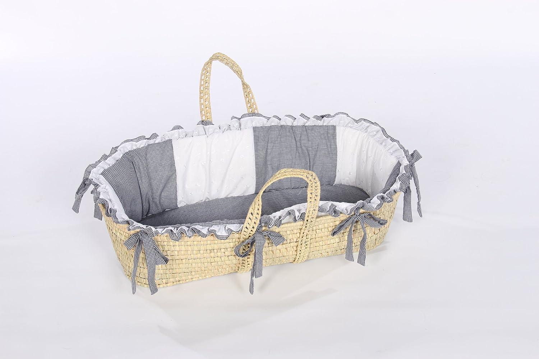 BabyDoll Gingham Eyelet Moses Basket Set in Navy