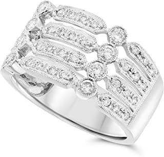 JewelryBliss 14k White Gold Four Band Diamond Ring