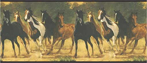 York Wallcoverings LM7904BSMP Lake Forest Lodge Horses Wallpaper Memo Sample, 8-Inch x 10-Inch