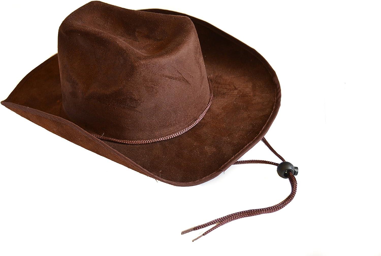 Children's Dark Brown Felt Cowboy Hat with Drawstring ,Brown ,One Size
