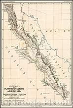 Historic Map - Originalkarte Der Californischen Halbinsel nach den Aufnachmen/Map of Baja California, Tijuana and south to Cabo San Lucas, 1868 - Vintage Wall Art 44in x 65in