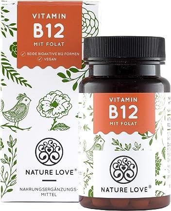 NATURE LOVE® Vitamin B12 - Vergleichssieger 2019* - 1000µg, 180 Tabletten. Beide aktive Formen Adenosyl- & Methylcobalamin + Depot + Folsäure als 5-MTHF. Vegan, hochdosiert, made in Germany