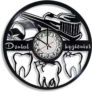 Lepri4ok Dental Hygienist Vinyl Record Wall Clock, Dental Hygienist Gift for Any Occasion, Dentist Office Decor, Orthodontics Art