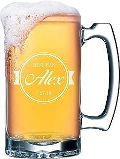Wedding Party Beer Mugs - Custom Engraved Personalized Groomsmen Beer Glasses Gifts - 16 oz (Baseball Style - 16 oz)