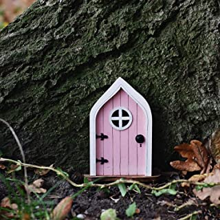 Mini Elf Door, Country Cottage Style Door, Tree Hugger Yard and Garden Sculptures Fairy Garden Gnome Home for Art Flower P...