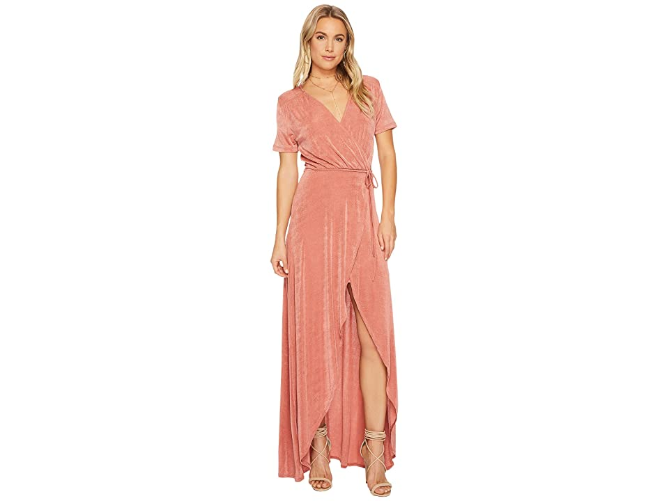 J.O.A. Tie Waist High-Low Wrap Dress (Dusty Pink) Women