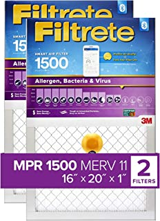 Filtrete 16x20x1 Smart Replenishable AC Furnace Air Filter, MPR 1500, Allergen, Bacteria & Virus, 2-Pack