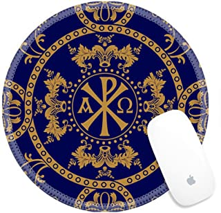 Luxlady Round Gaming Mousepad 39157516 Classic orthodox seamless pattern Classic orthodox background with decorative elements