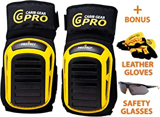 Knee Pads For Work- Heavy Duty Construction Gel knee Pads Best Tool for Tiling, Gardening, Flooring, Cleaning, Comfortable Foam Cushion, Stretchable Anti-Slip Thigh Straps with Safety Glasses & Gloves