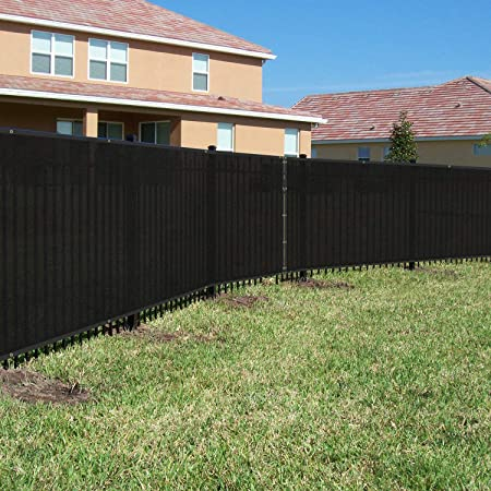 BOUYA 4ft x 50ft Black Heavy Duty for Chain-Link Fence Privacy Screen Commercial Outdoor Shade Windscreen Mesh Fabric with brass Gromment 160 GSM 88% Blockage UV, 4' x 50'