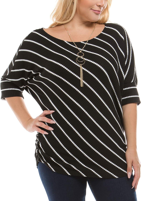 Bubble B Women's Plus Size Striped Short Sleeve Top Necklace Grey
