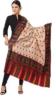 Pashtush Womens Kalamkari Embroidery Pashmina Shawl, Multicoloured Silk Thread and Needlework, Kashmiri Embroidery Design. Heritage Pashmina Collection (45x90 inches)