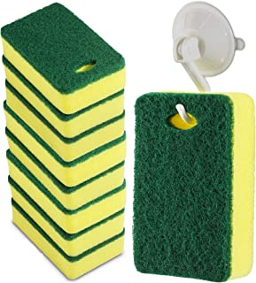 SmokEase Scrub Cleaning Supplies – Kitchen Dish Sponge with Hook Holder – Multipurpose Clean Pad & Suction Cup Hook – Long...