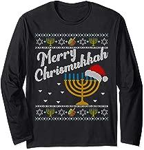 Merry Chrismukkah Christmas Ugly Hanukkah Sweater menorah Long Sleeve T-Shirt
