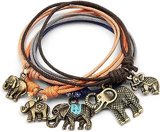 Charm Bracelets For Women Girls - Jewelry Gift Set of 5 Bands - Adjustable 5 Slip Knot Bracelets - Handmade Unique Elephants - Trunks Up - for Women Girls for Good Luck, Long Life, Protection