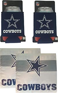 FAKKOS Design Dallas Cowboys Koozie Beer Can Set of 2 with Bonus Cowboys Cocktail Napkins 50 Count Pack