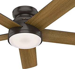 Hunter Fan 54 inch Low Profile Noble Bronze Indoor Ceiling Fan with Light Kit and Remote Control (Renewed)