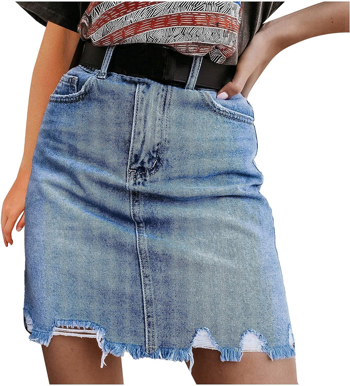 DXYDSC Women's High Waist Casual A-Line Casual Plaid Short Jean Skirt