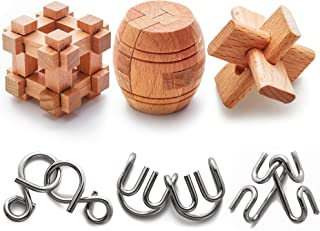 Brain Teaser Metal and Wooden Puzzles for Adults and Kids 6 Pack - 3D, Mind, Logic Test and Handheld Disentanglement Games - Jigsaw IQ Challenge Party Favor