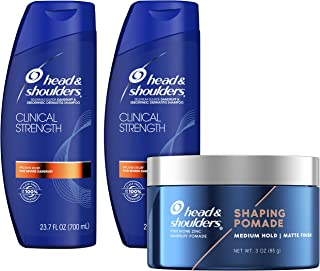 Head and Shoulders Anti Dandruff and Scalp Care Shampoo & Shaping Pomade, Clinical Strength Bundle