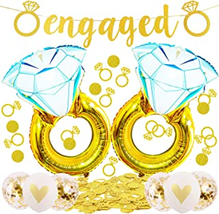 Engagement Party Decorations Giant 45 inch Diamond Wedding Ring Balloons,Extra-Large Engaged Banner and Glittering Gold Ri...