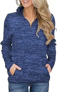 Women Quarter Zip Color Block Pullover Sweatshirt Tops with Pockets(9 Colors,S-XXL)