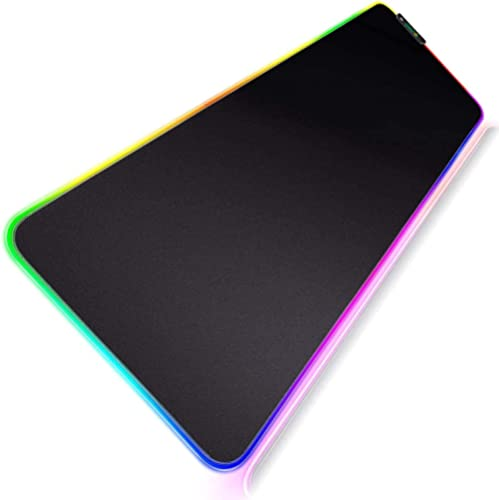 Geecol RGB Led Gaming Mouse Pad, Oversized Glowing Soft Extended Mousepad with Anti-Slip Rubber Base Computer Keyboar...