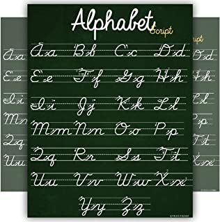 ABC Cursive Script Alphabet poster SIZE SMALL chart LAMINATED teaching classroom decoration Young N Refined (16x20)