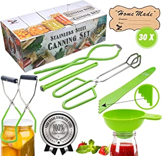 """Supa Ant Stainless-Steel Canning Kit: Jar Lifter, Jar Wrench, Tongs, Lid Lifter, Extra Wide Funnel, Bubble Popper & 30""""Hom..."""