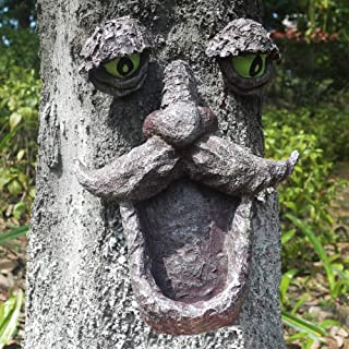 AKDSteel 1 Set of Tree Faces Decor Outdoor Old Man Wild Bird Feeder Tree Hugger Statues in The Dark Eyes Garden Decor Yard...