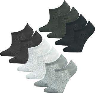 Mens Socks, HBF 5 pairs Ankle Socks Bamboo Fiber Net Loafer Boat Liner Low Cut No Show Socks, 3, One Size