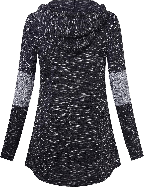 Messic Womens Zip V Neck Casual Lightweight Tunics Long Sleeve Plaid Shirts Tops