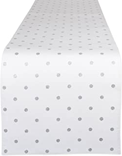 DII Reversible Polka Cotton Runner for Dining Room, Barbecues, Foyer Table, Summer Parties, and Everyday Use, Metallic Sil...