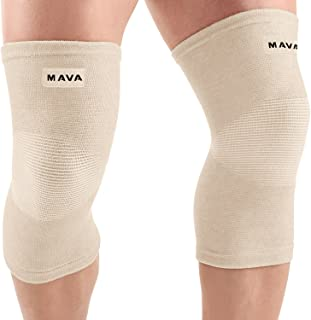Mava Sports Knee Support Sleeves (Pair) for Joint Pain & Arthritis Relief, Improved Circulation Compression – Effective Support for Running, Jogging,Workout, Walking & Recovery