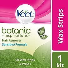 VEET Botanic Inspirations Wax Strip Kit for Body, Bikini & Face, Sensitive Formula, 20 ea (Pack of 3)