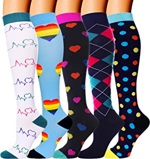 5 Pairs Compression Socks for Women Men 20-30mmhg Knee High Stocking for Running